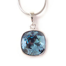 Navy Blue Crystal Drop Necklace w/ 12mm Swarovski Cushion Cut Square Pendant