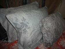 KAS AUSTRALIA BOHO GRAY PAISLEY EMBROIDERED PLEATED (3PC) QUEEN DUVET SET