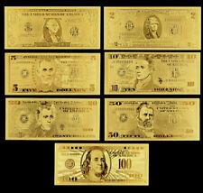 Lots 7 Pcs U.S. dollar Gold Banknote Notes Full Set Unusual Beautifully Crafts