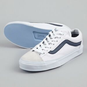 Mens Vans Vansguard White Navy Canvas Leather Lace Up Casual Trainers