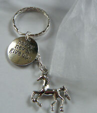 Horse Equestrian Equine Rider Jumper Never Never Give Up Keyring Bag Charm Gift