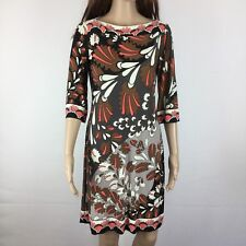 Donna Morgan Multicoloured Print Boat Neck Shift Dress Size 4US (@Size 8) (AI17)
