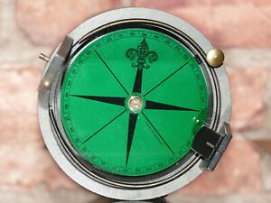"GREEN PRISMATIC SURVEYING COMPASS ""MADE IN ENGLAND"" GOOD WORKING CONDITION."
