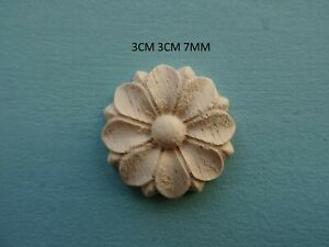 Decorative wood small flower head applique furniture mouldings onlay decal DD10