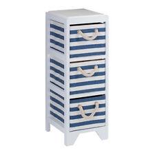 3 Drawers Nautical Blue White Drawer Chest Paulownia Wood Paper Cloth Drawers