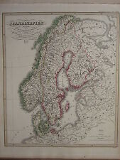 1846 SPRUNER ANTIQUE HISTORICAL MAP ~ SCANDINAVIA PEACE OF FRIEDRICHSHAIN 1809