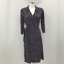 Hobbs Dress Ladies UK 12 Black Purple Polka Dot Wrap Belted 3/4 Sleeves 283115