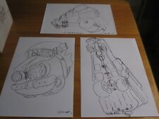 Cartoon Illustrations of the 1964 EH Holden Station Wagon. Set of 3 x A3 prints