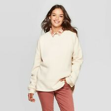 Women's Fleece Tunic Pullover Sweatshirt - Universal Thread Cream