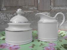 Seltmann Weiden Bavaria Porcelain Creamer & Sugar Bowl w/lid Platinum Trim