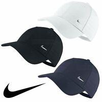 Nike Swoosh Logo Cap Running Golf Baseball Hat Black Navy White Mens Womens