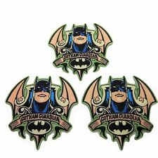 "Batman Series Gotham Guardian 3 1/2"" Tall Embroidered Iron on Patch Set of 3"