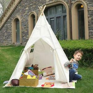 Large Canvas Kids Teepee Tent Blue Indian Children Wigwam In/Outdoor Play House