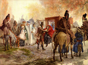 """Adolph von Menzel - Hussars Bring up Polish Family 1850 Signed - 17"""" x 22"""" Print"""