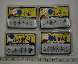 Lot 9-164 * HO Scale 4 x Assorted Pkgs. Woodland Scenics Painted Figures