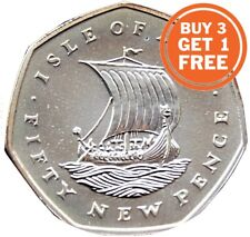 More details for 50p isle of man viking fifty pence 1971 to 1986 with die marks choice of date