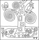 "Rug Hooking Pattern "" KLIMT PILLOW"" on natural linen"