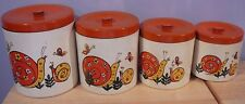 Mid Century Melamine Canister Set Orange & Yellow Snails