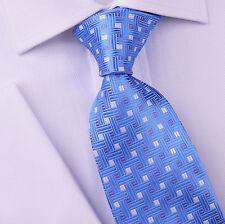 "Mens Light Blue Diamonds Plaids & Checks 3.15"" Wide Tie 8cm Necktie Gray Striped"