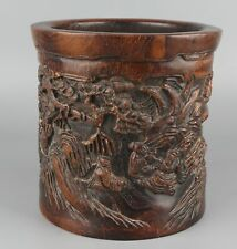 Chinese Exquisite Hand-carved People and landscape carving Wood Pen holder