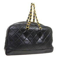 CHANEL Quilted CC Jumbo XL Chain Travel Hand Bag Purse Black Leather AK33262h