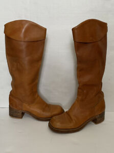 Vtg Womens Frye ? Campus Sz 8.5 M Brown Leather Pull On Tall Riding Boots USA
