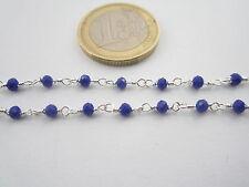 1 metro catenina rosario tono argento concatenata cristallo blu elettrico 3,5 mm