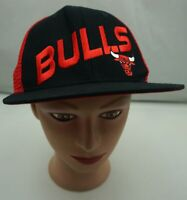 Chicago Bulls Hat Red Stitched Snapback Trucker Baseball Cap Pre-Owned ST229