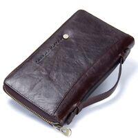 Genuine Leather Men Clutch Wallet Card Holder Long Zipper Around Travel Purse