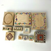 All Night Media Wood Rubber Stamps LOT (1993 1994 1995) Borders, Holiday, Square