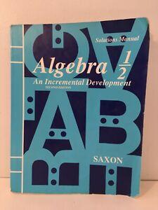 Saxon Algebra 1/2 SOLUTIONS MANUAL Second Edition 1997