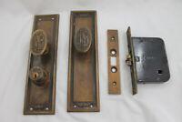 Vtg Brass Yale Door Lock Set Monogram Knobs Back Plates Strike Salvage FNB F B N