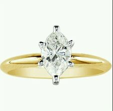 1 CT MARQUISE 8 X 4 MM SOLID 14K YELLOW GOLD SOLITAIRE ENGAGEMENT WEDDING RING