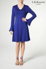 L K Bennett Designer Amano Blue Jersey Bell Sleeve Casual A-Line Dress Size 14