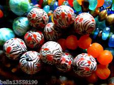 Grosse handmade Indonesia-Perlen m.Blüten-Mosaik in Rot/Terra/W/Jet- ca.18-20mm-