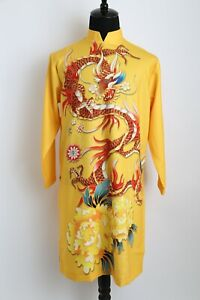 Ao Dai Nam Cach Tan, Vietnamese Traditional Dress for Men Yellow Dragon Design