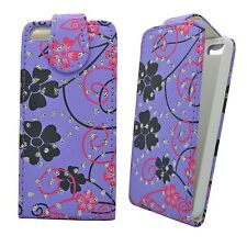 CASE FOR APPLE IPHONE 5 5S LILAC PINK AND BLACK FLOWER SWIRL GLITTER FLIP COVER
