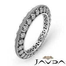 Round Diamond Womens Milgrain Eternity Wedding Ring Band 18k White Gold 0.59Ct
