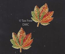 VAT Free Iron On Craft Motif Patch Craft S&W 2 Golden Autumn Leaves M136 New