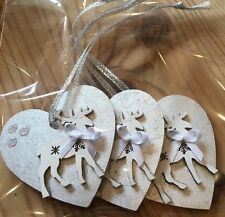 3 X Christmas Decorations Reindeer Shabby Chic Real Wood White Silver Handmade