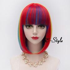 Short 30CM Gradient Multi-color Women Girl Lolita Heat Resistant Cosplay Wig