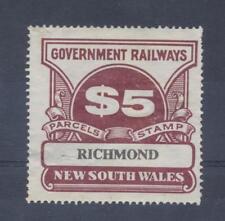"NSW $5.00 ""RICHMOND"" station Railway Parcel Stamp"