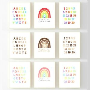 A4 A3 Neutral Name Rainbow Prints Playroom Nursery Alphabet Numbers Personalised