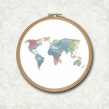 Watercolor World Map Travel Counted Cross Stitch Pattern