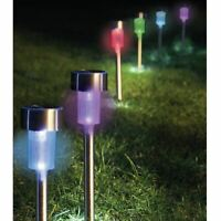 10x Solar Powered Garden Lights Post Patio Outdoor Stainless Steel Multi Colour