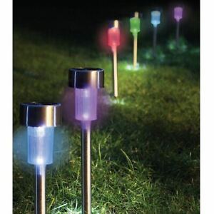 5x Solar Powered Colour Changing LED Stake Lights Garden Decor Lamps Steel