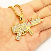 """24"""" MEN'S HIP HOP PAVE  GOLD MP5 GUN PENDANT NECKLACE 3MM BOX CHAIN"""