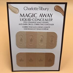 NEW, Charlotte Tilbury Magic Away Liquid Concealer Sample Card Fair/1-Medium/7