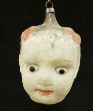 Rare Vintage 1920's Baby Girl's Head with Bows & Glass Eyes Ornament