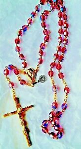 crystal glass beaded rosary cross necklace
